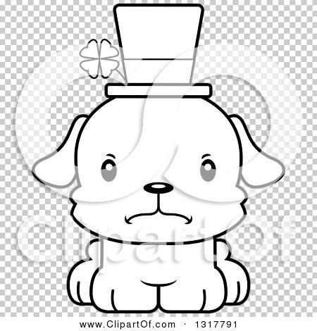 Animal Lineart Clipart of a Cartoon Black and WhiteCute Mad Irish.