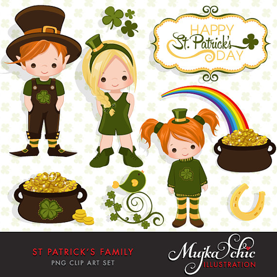 St. Patrick's Day Family Clipart Instant Download Irish Graphics.