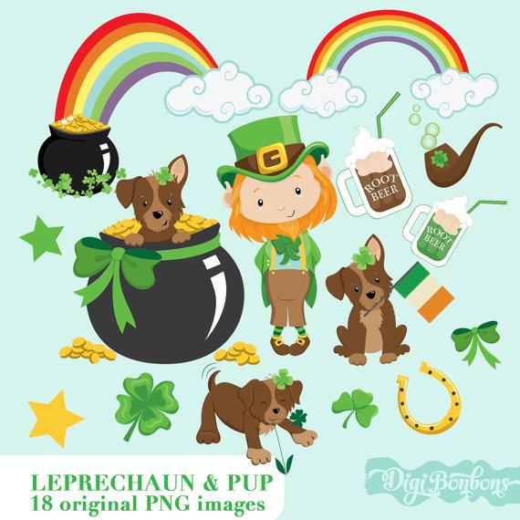 St. Patrick's Day digital clip art, Cute Leprechaun, pot of gold.