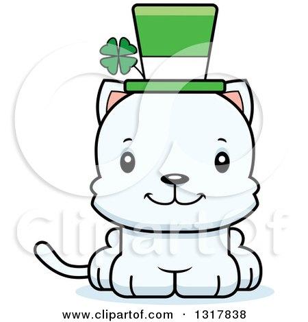 Animal Clipart of a Cartoon Cute Happy Irish St Patricks Day White.
