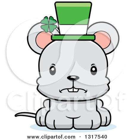 Animal Clipart of a Cartoon Cute Mad St Patricks Day Irish Mouse.