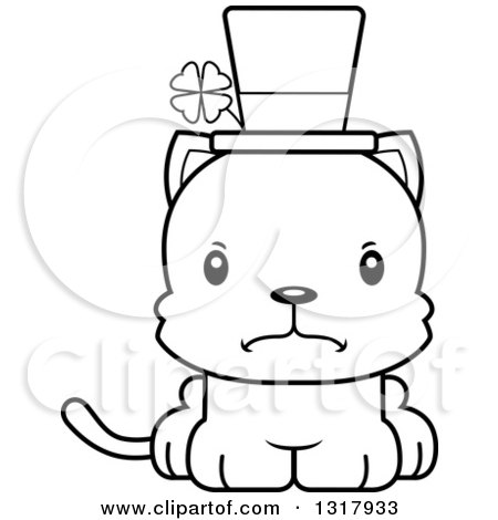 Animal Lineart Clipart of a Cartoon Black and White Cute Mad Irish.