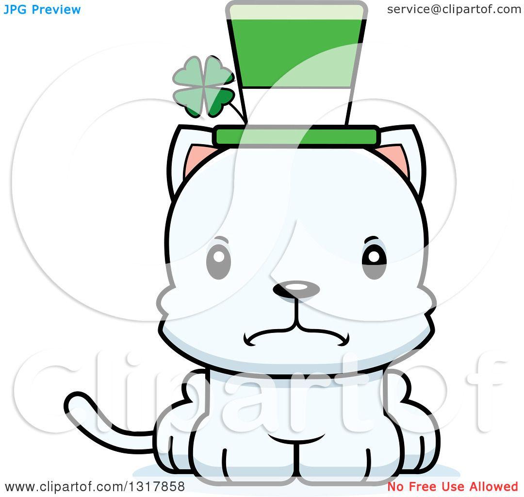 Animal Clipart of a Cartoon Cute Mad Irish St Patricks Day White.