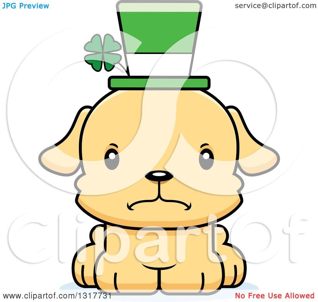 Animal Clipart of a Cartoon Cute Mad Irish St Patricks Day Puppy.