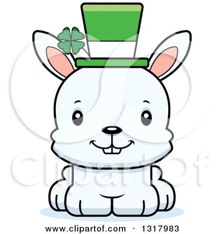 Animal Clipart of a Cartoon Cute Happy White St Patricks Day Irish.