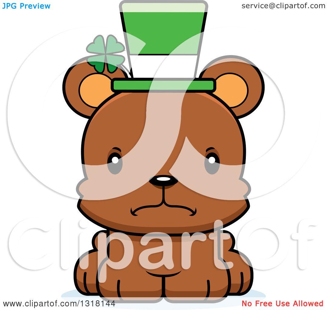 Animal Clipart of a Cartoon Cute Mad Irish St Patricks Day Bear.