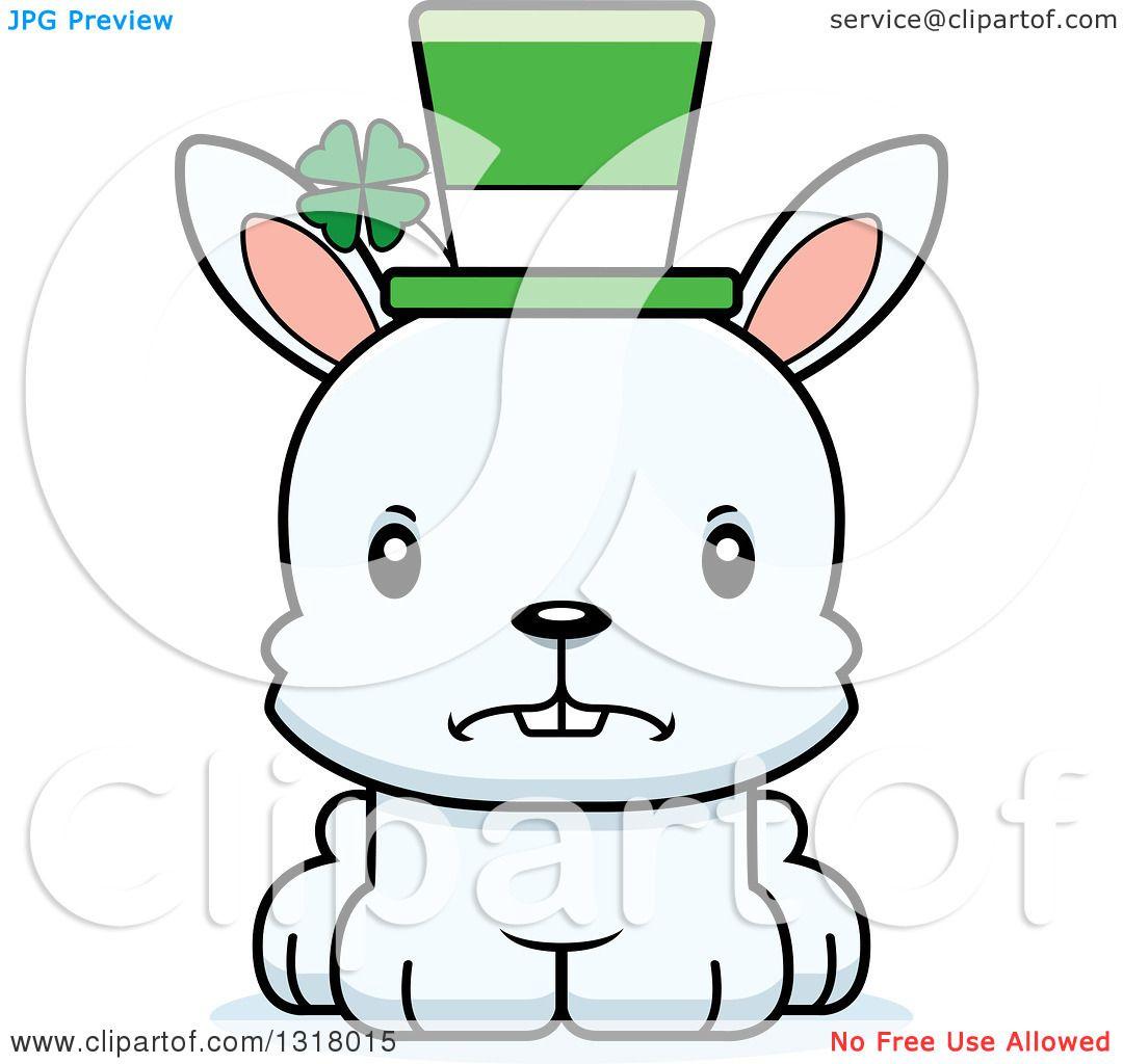 Animal Clipart of a Cartoon Cute Mad White St Patricks Day Irish.