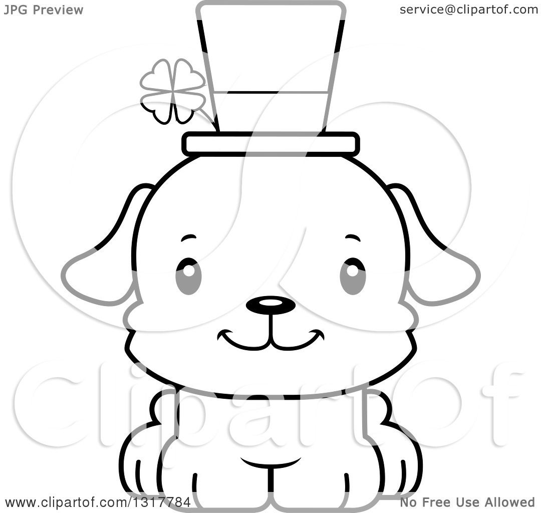 Animal Lineart Clipart of a Cartoon Black and WhiteCute Happy.