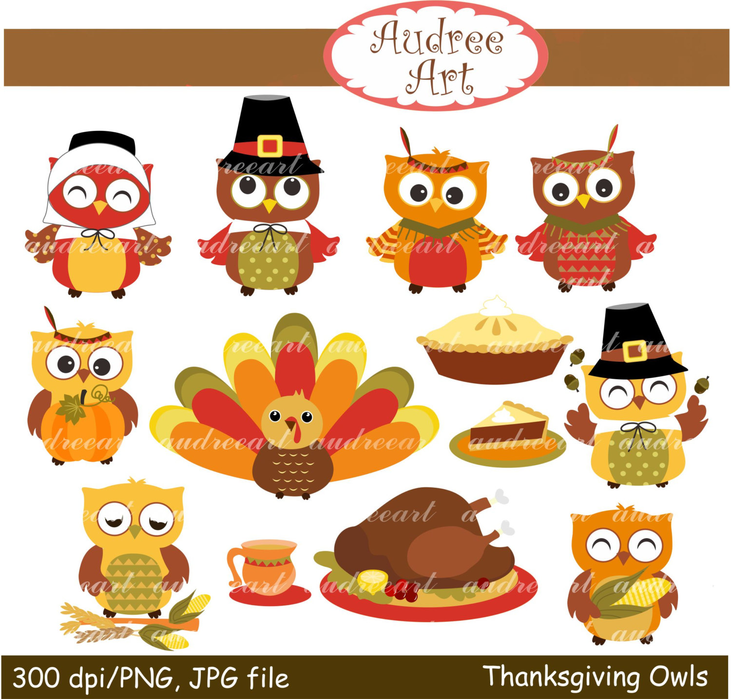 Cute animal thanksgiving clipart.