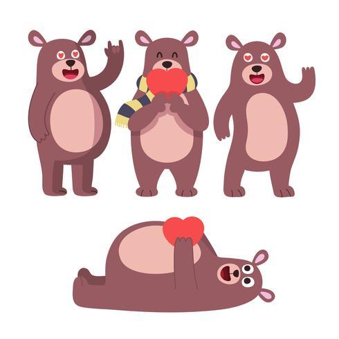Cute bear pose. Cute animal teddy bear boy toys for kids.