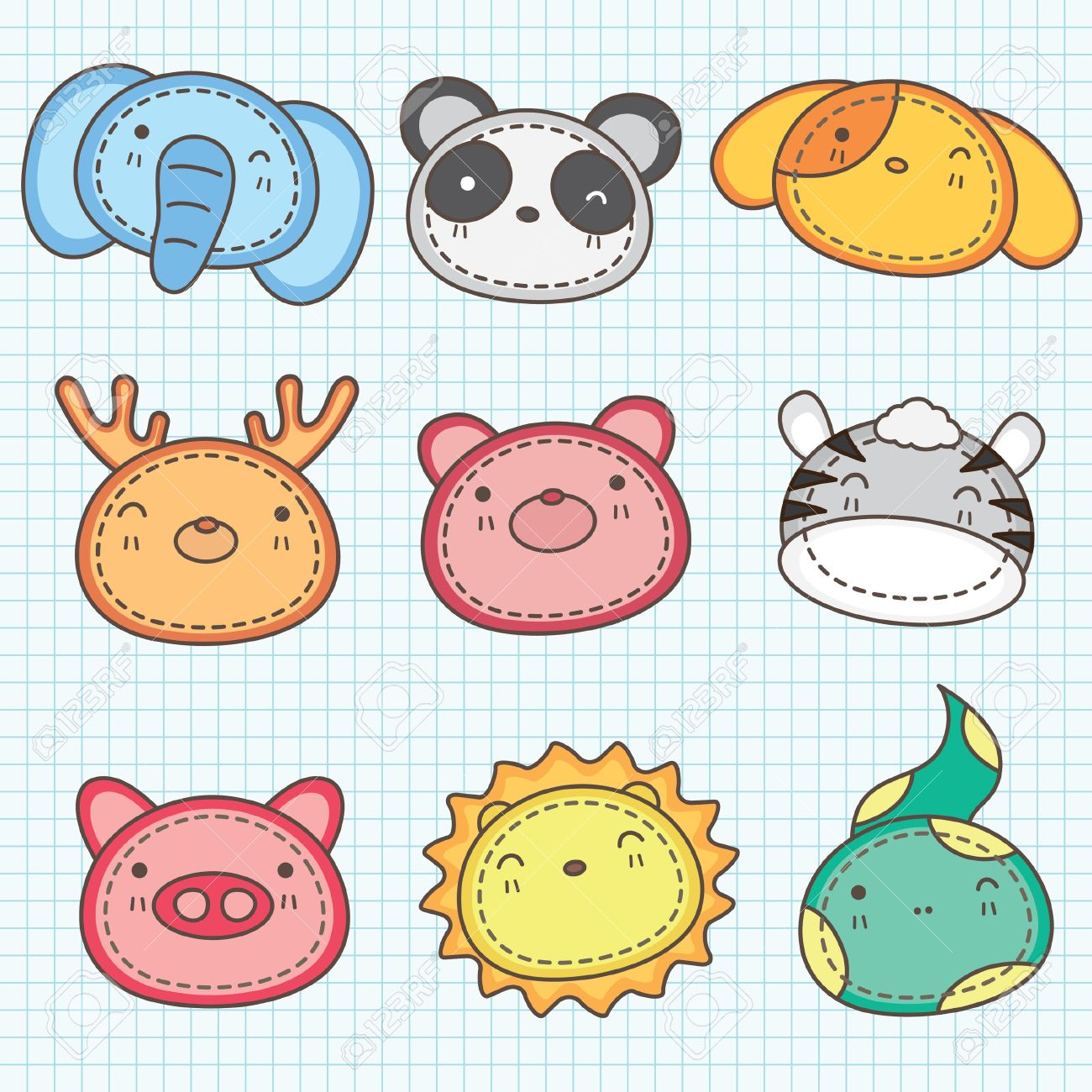 Cute Animals Head Clip Art B Royalty Free Cliparts, Vectors, And.