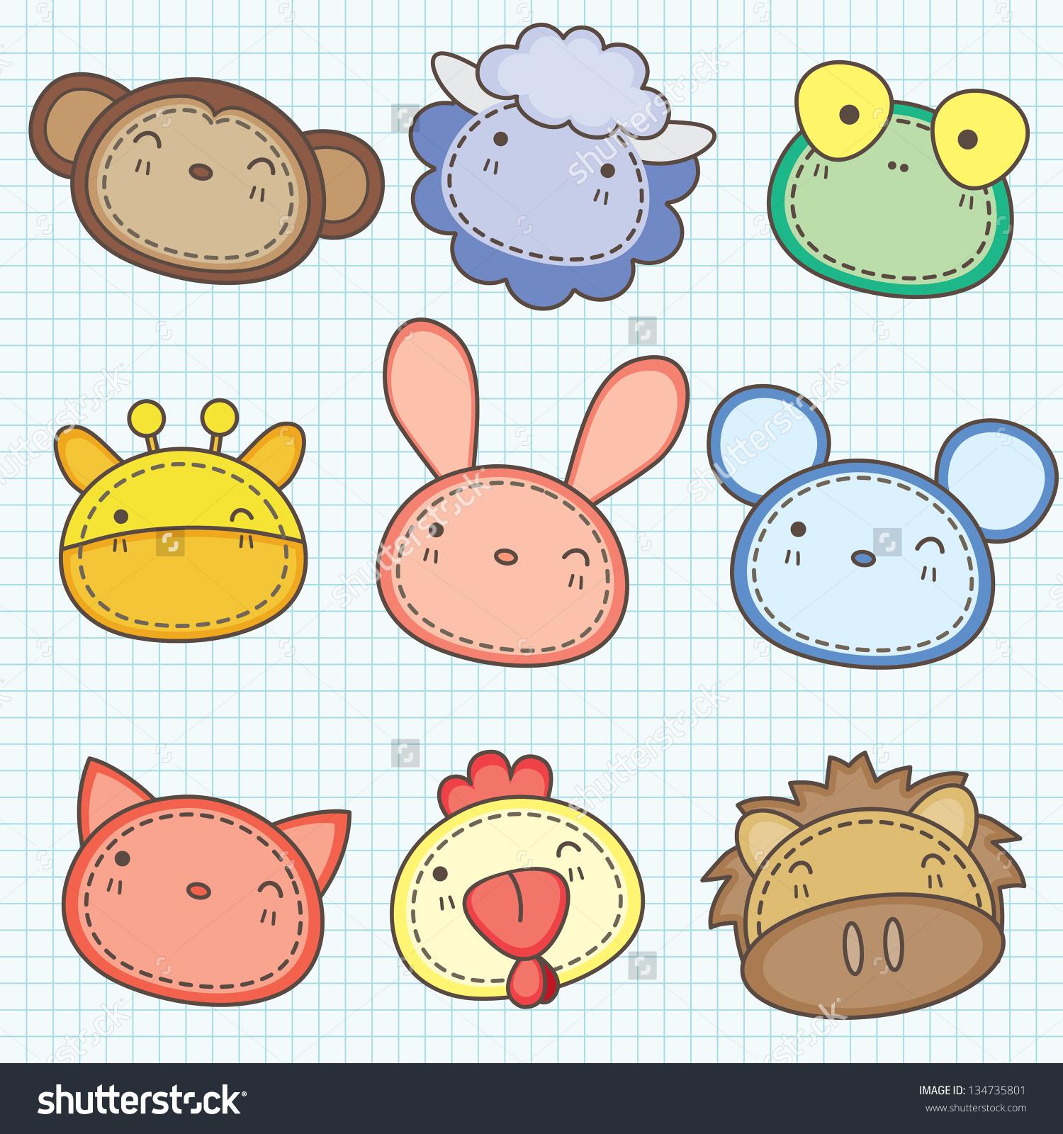 Cute Animals Head Clip Art Stock Vector 134735801.