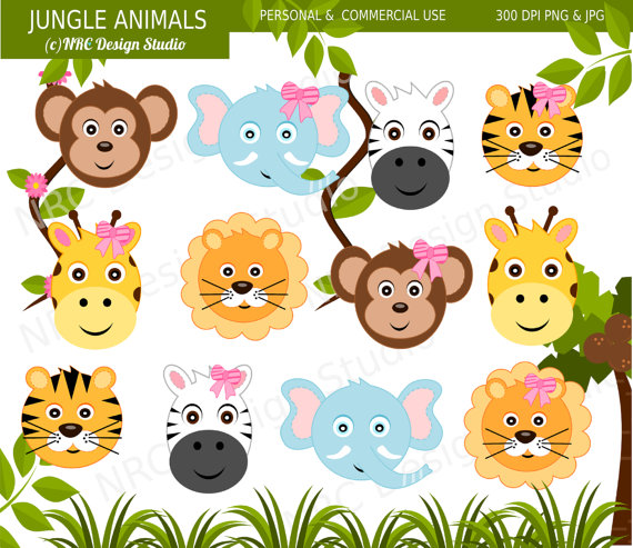 Cute animals playing in summer clipart.
