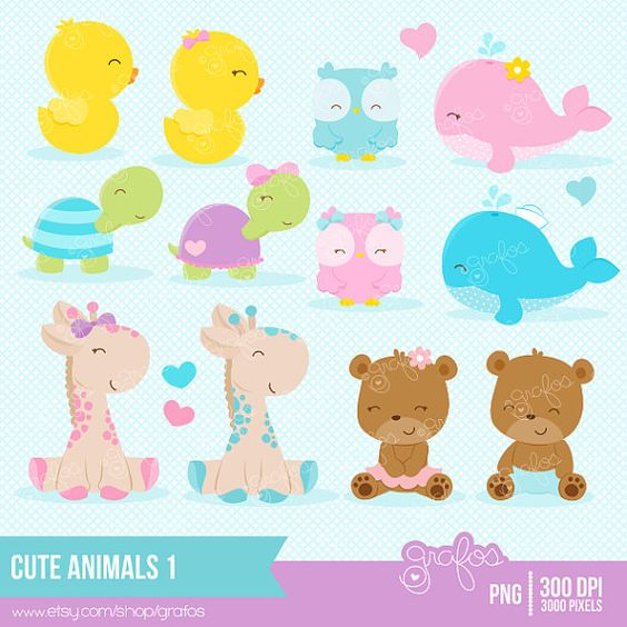 CUTE ANIMALS 1 Clipart, Baby Animals Clipart, Animals Clipart.