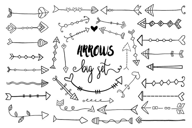 Black hand drawn doodle arrows clipart, Tribal cute arrow clip art.