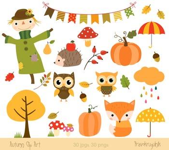 Autumn clipart set, Fall clipart, Harvest, Scarecrow, Fox, Hedgehog, Pumpkin.