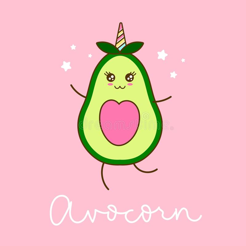 Cute Avocado Stock Illustrations.