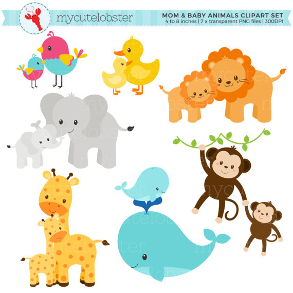 Mom and Baby Animals Clipart Set.