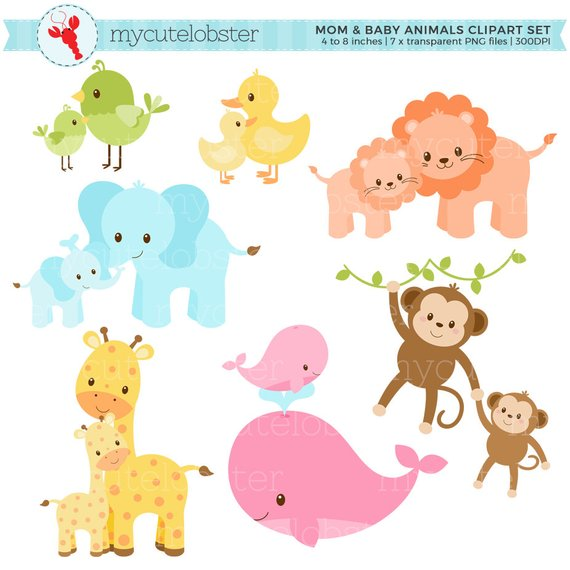 Pastel Mom and Baby Animals Clipart Set.