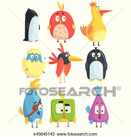 Little Cute Bird Chicks Collection Of Cartoon Characters in Geometric  Shapes, Stylized Cute Baby Animals Clipart.