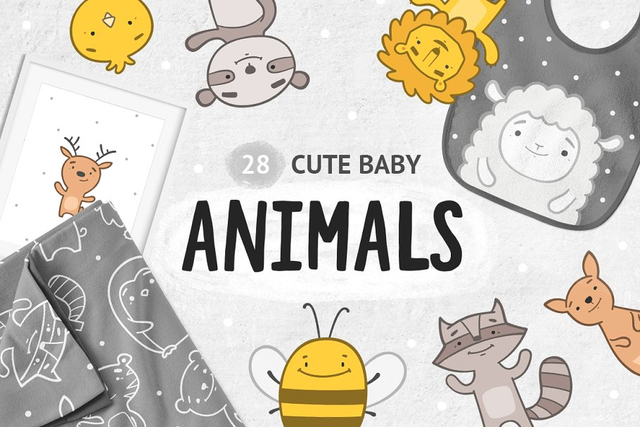 Cute baby animals clipart ~ Illustrations ~ Creative Market.