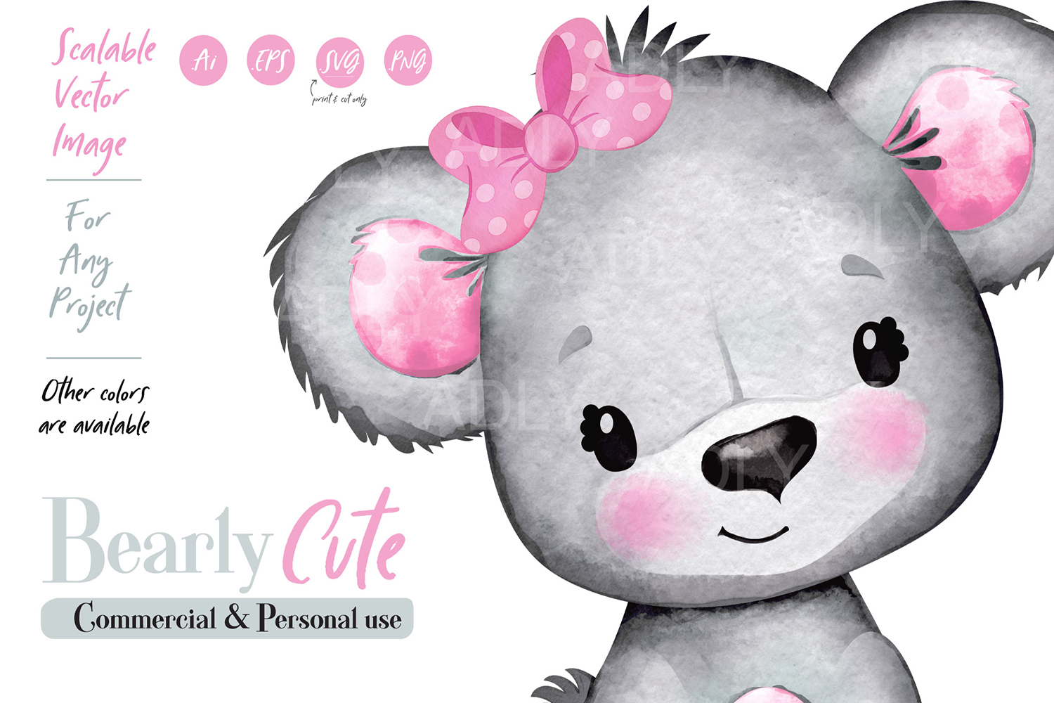 Pink Girl Teddy Bear Clip art with bow, watercolor baby bear.