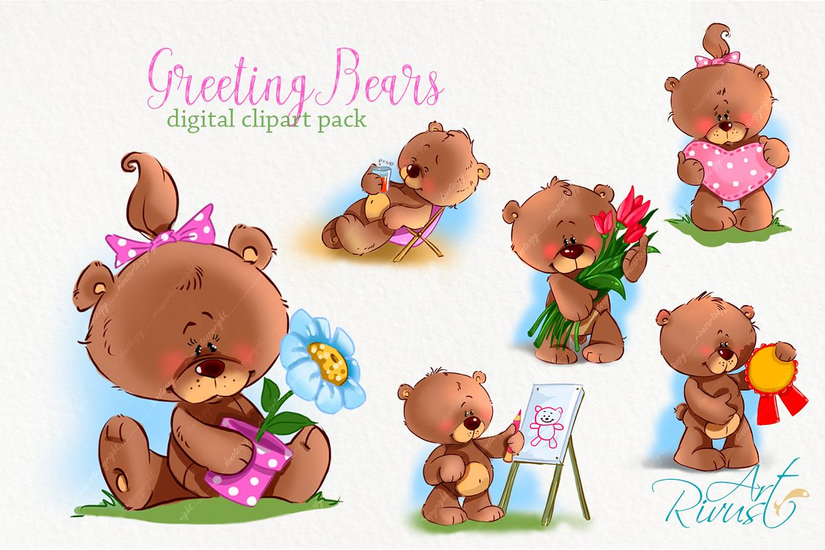 Cute little greeting teddy bears clipart baby animals clip a.