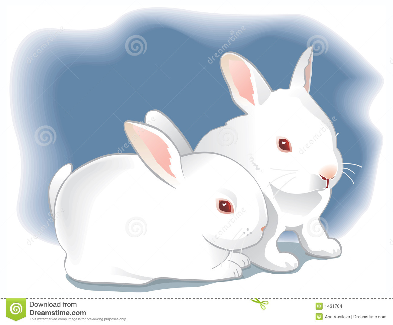 Two Cute White Baby Rabbits. Illustration Stock Vector.