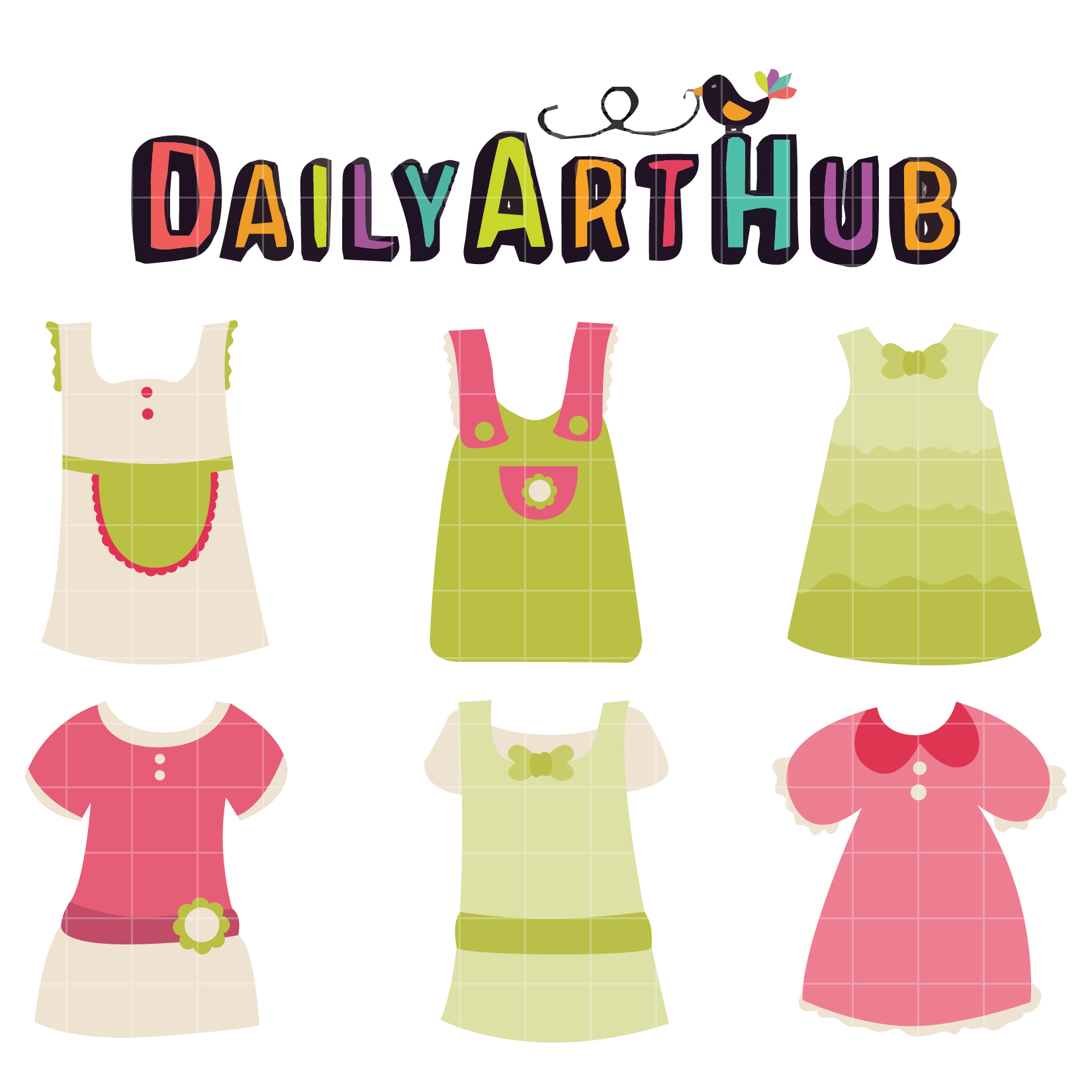 Cute Baby Girl Dress Clip Art Set.