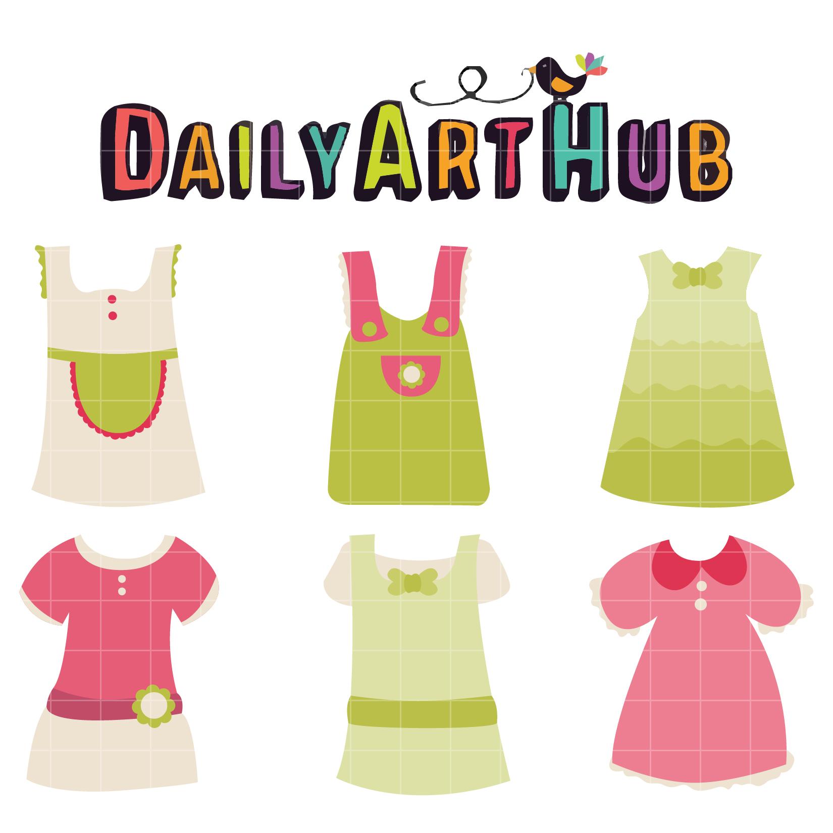 Cute Baby Girl Dress Clip Art Set.