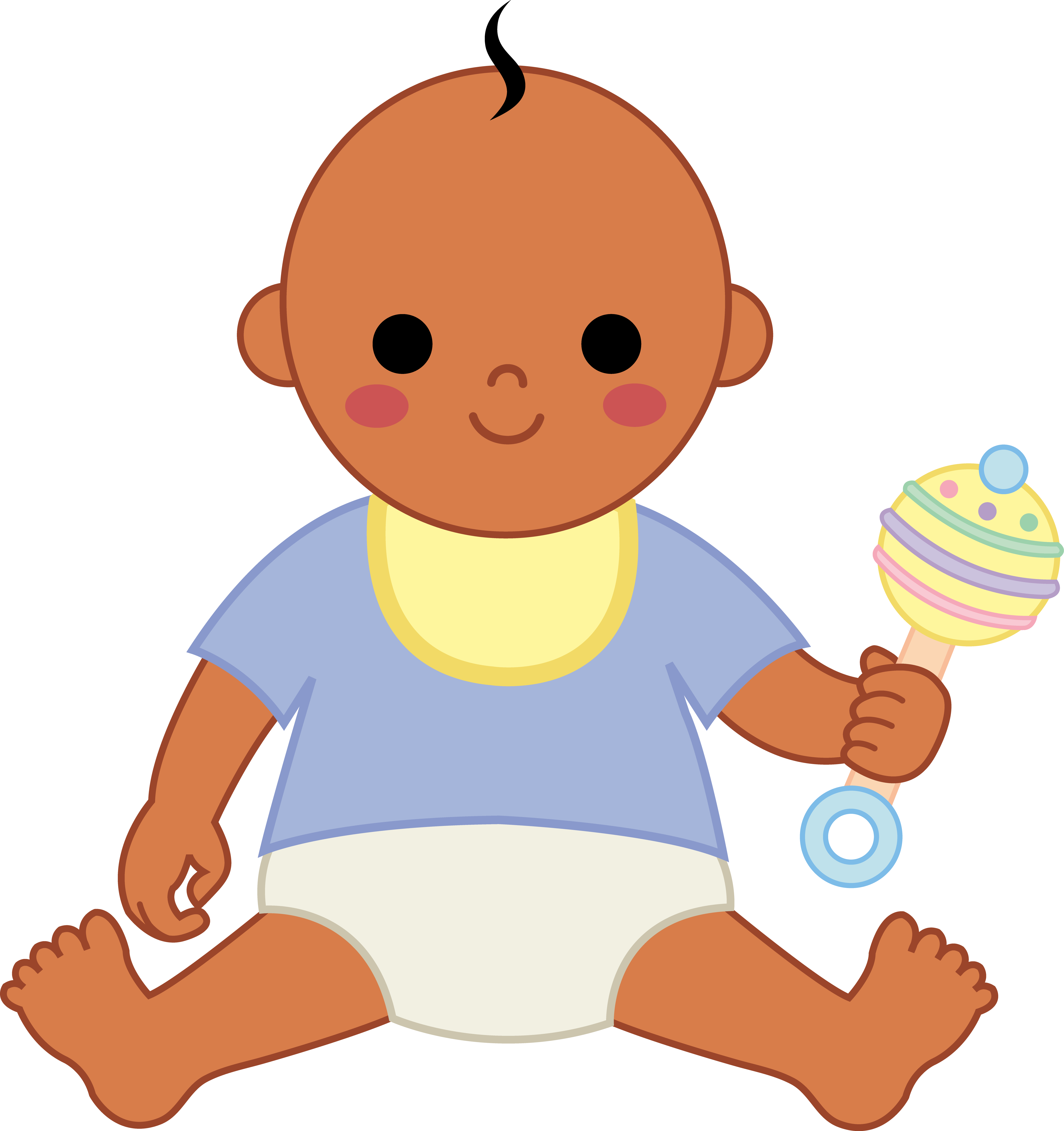 Cute baby boy with the rattle clipart free image.