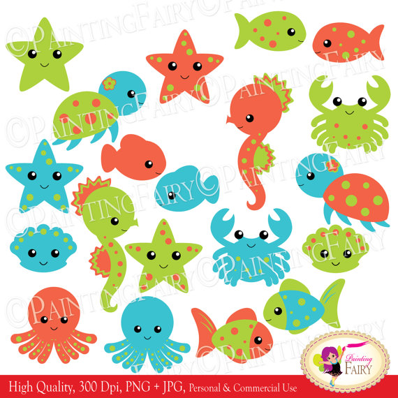 INSTANT DOWNLOAD clipart Cute Under the Sea Animals Fish Turtle.