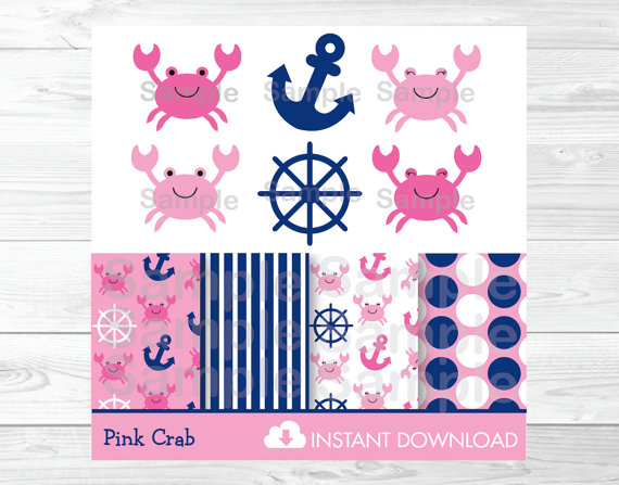 Cute Pink Crab Clipart / Crab Baby Shower / Nautical Baby Shower.