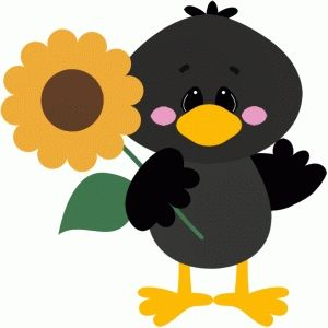 Silhouette Design Store: crow holding sunflower fall.