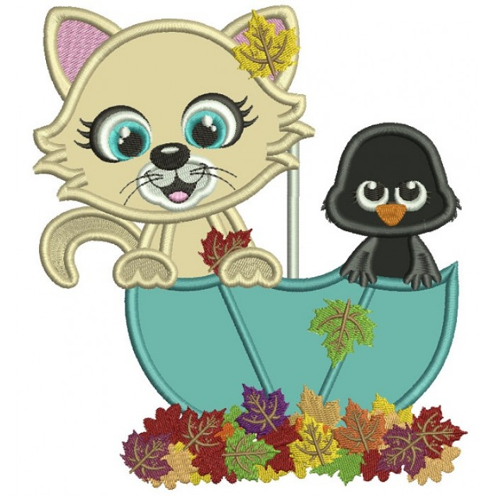 Cute Kitten And a Baby Crow Sitting Inside an Umbrella Fall Applique  Machine Embroidery Design Digitized Pattern.