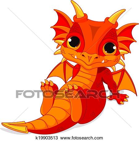 Cute baby dragon Clipart.