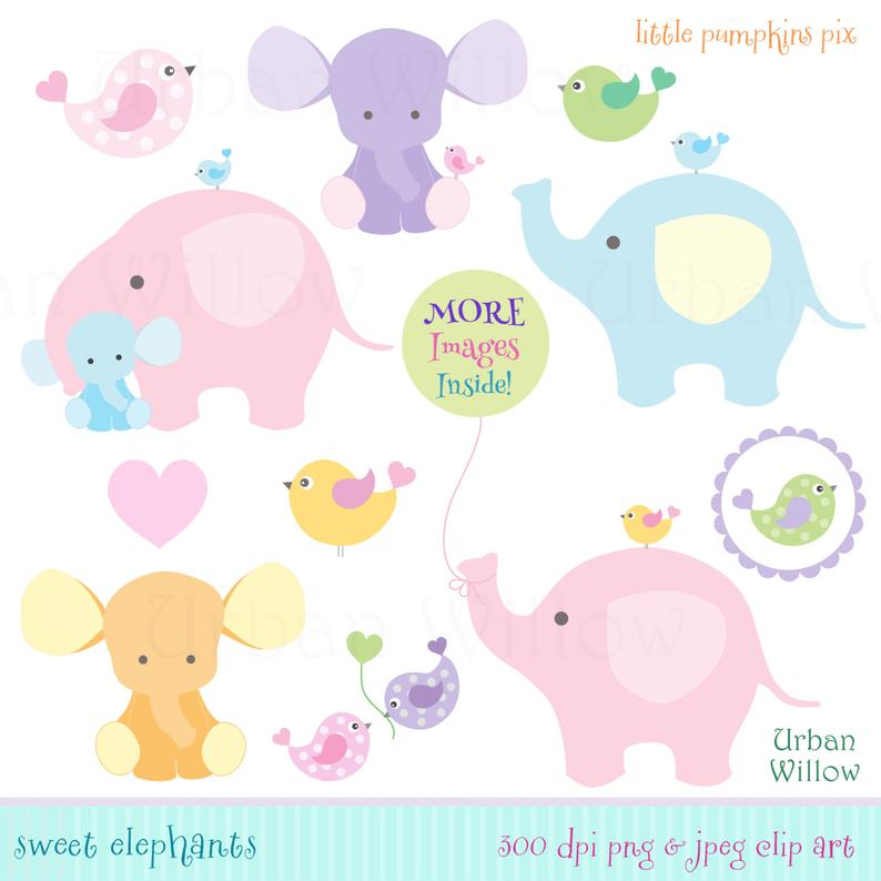 Cute Baby Elephants Clipart, Pink Elephants, Blue Elephant Clipart, Digital  Clipart Elephant and Balloon, Cute Animals Graphics.