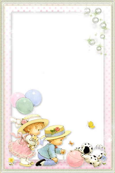 Kids Transparent Frame with Cute Girl and Boy.