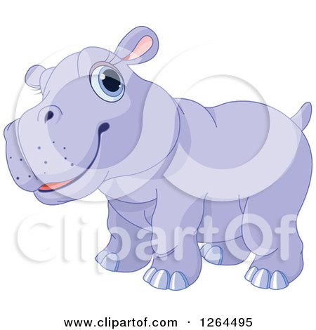 Clipart of a Cute Purple Baby Hippo.