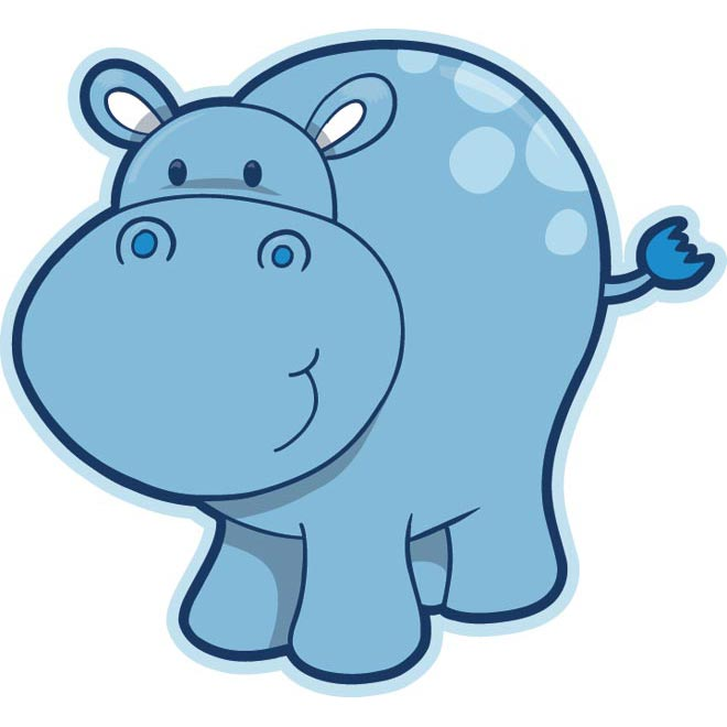 Cute Baby Hippo Cartoon.