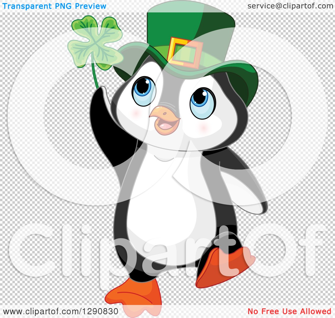 Clipart of a Cute St Patricks Day Leprechaun Penguin Holding a.