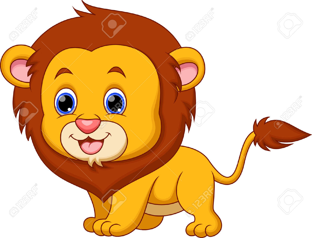 Cute Baby Lion Cartoon Royalty Free Cliparts, Vectors, And Stock.