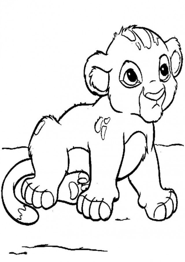Cute baby lion clipart black and white clipground for Cubs coloring pages