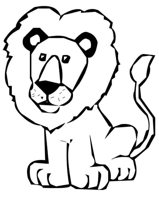 Cute Baby Lion Clipart Black And White.