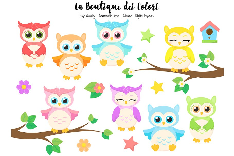 Cute Colorful Baby Owls Clipart.
