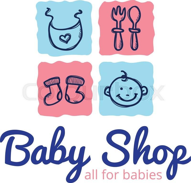 Vector cute baby shop logo in doodle.