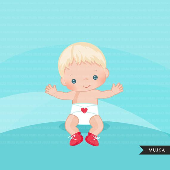 Valentine\'s Day Baby clipart. Cute baby boys with heart.