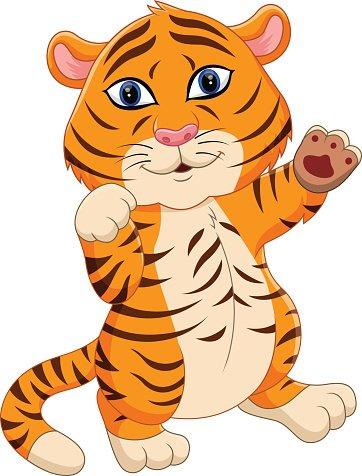 cute baby tiger cartoon Clipart Image.