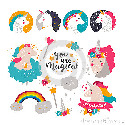 Baby Unicorn Stock Vector.