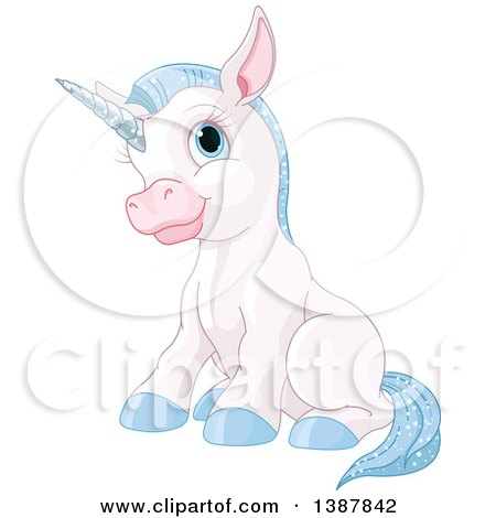 Clipart Cute Golden Baby Unicorn Prancing.